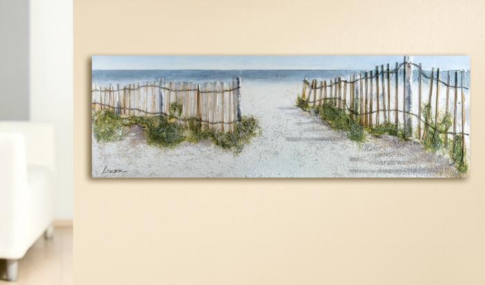 Tablou Beach Idyll, panza, multicolor, 150x50 cm 2021 lotusland.ro