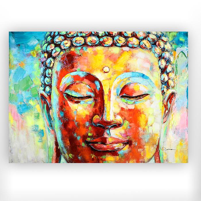 Tablou Buddha, canvas lemn, multicolor, 120x90x3.5 cm lotusland.ro