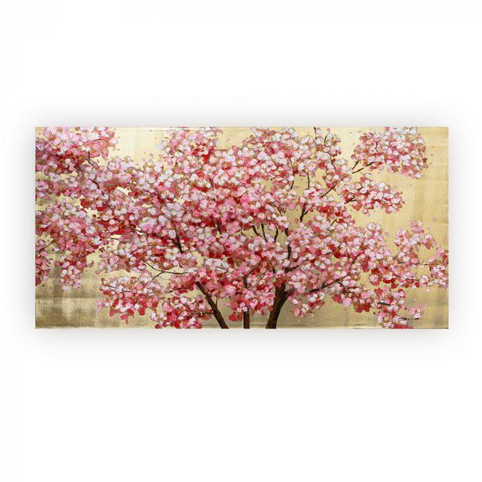 Tablou CHERRY TREE, panza, 140x70x3.5 cm 0
