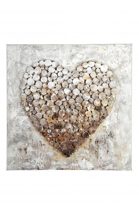 Tablou HEART, panza, 80x80x3.5 cm 1