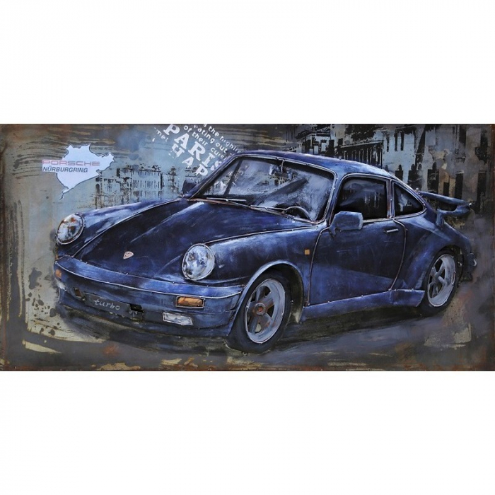 Tablou metal 3D Blue sportcar 120x60 cm 0