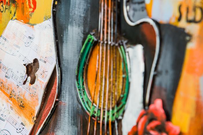 Tablou metal 3D Guitar 60x90 cm 1