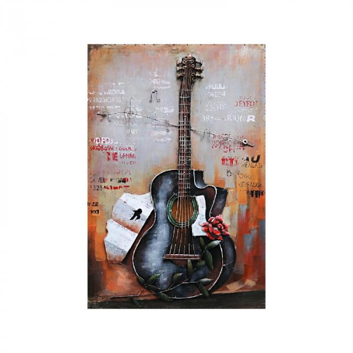 Tablou metal 3D Guitar 60x90 cm 0