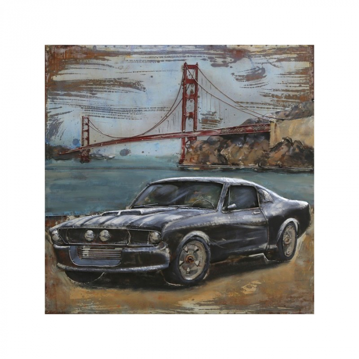Tablou metal 3D Mustang 100x100 cm 0