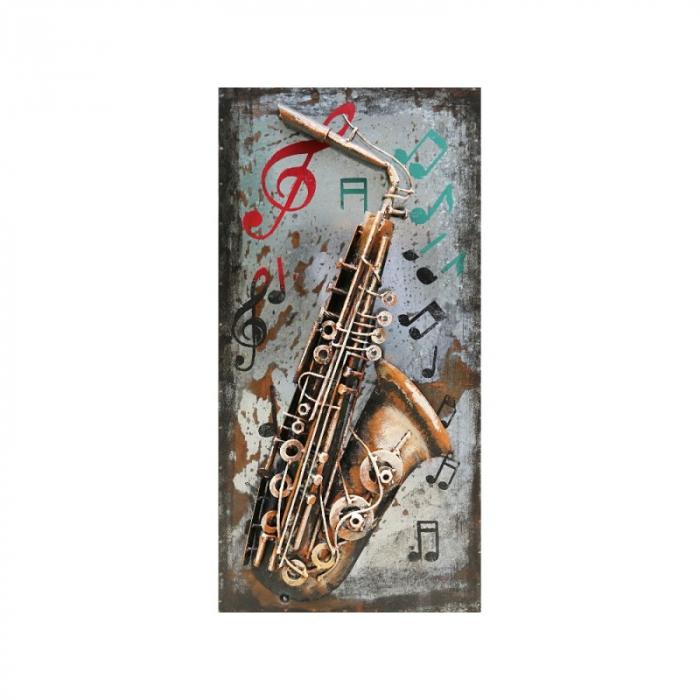 Tablou metal 3D Saxophone 40 x 80 0