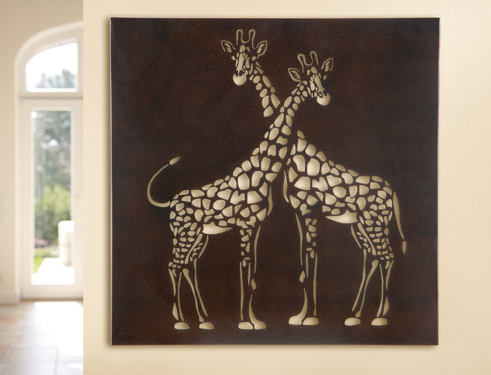 Tablou COUPLE OF GIRAFFE, metal, 60x60 cm 0