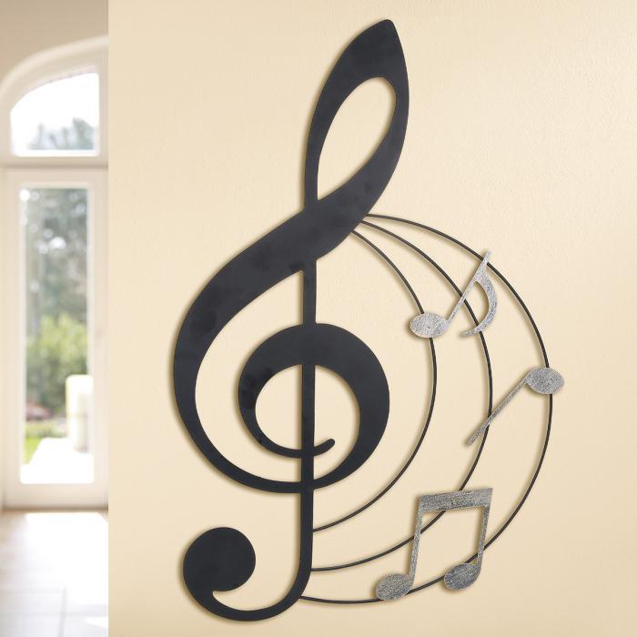 Decoratiune de perete MUSICALE, metal, 70x45  cm 0