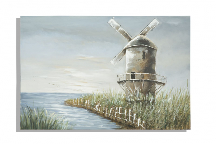Tablou Mulino, lemn de pin Plastic panza, multicolor, 120X3.7X80 cm 2021 lotusland.ro