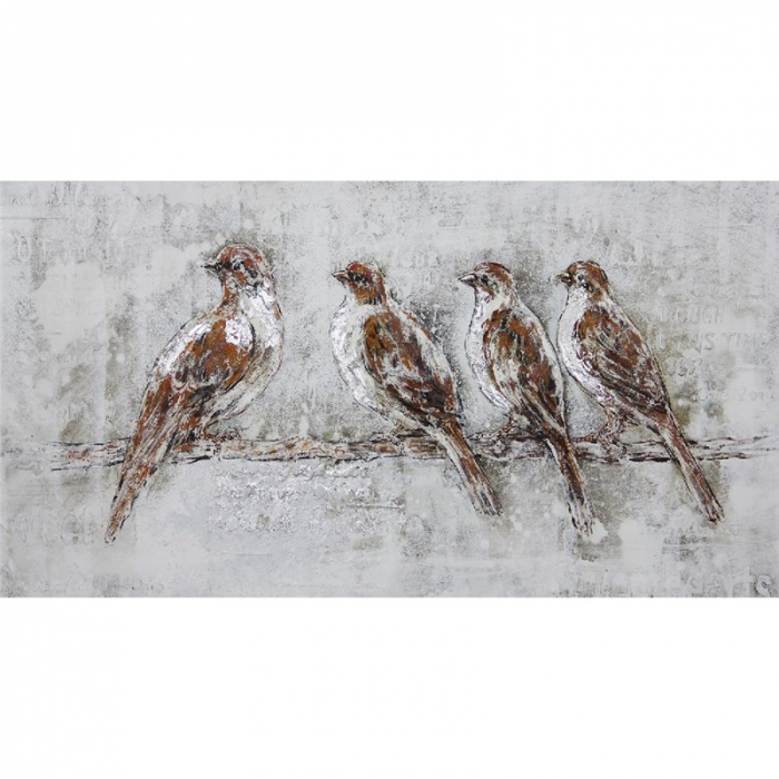 Tablou pictat manual 4 birds 140x70 cm 0