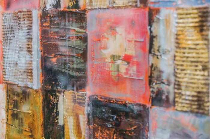 Tablou pictat manual Squares gold brown 100 x 100 cm 2