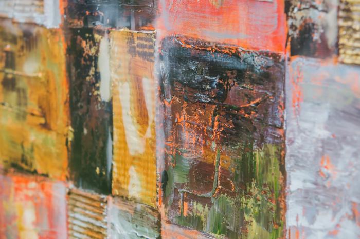 Tablou pictat manual Squares gold brown 100 x 100 cm 1