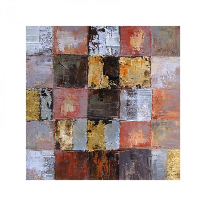 Tablou pictat manual Squares gold brown 100 x 100 cm 0