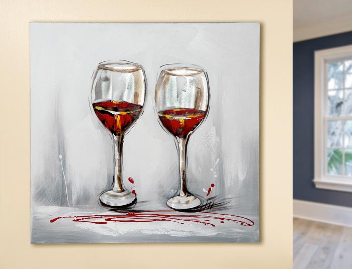 Tablou pictat manual WINE, panza, 60x60x3 cm 0