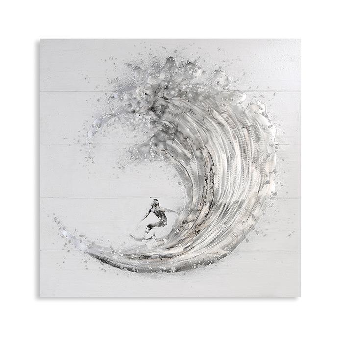 Tablou SURFER, panza/aluminiu, 100x100 cm [0]
