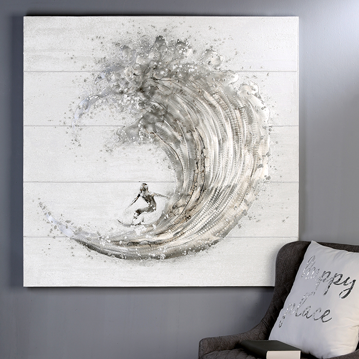 Tablou SURFER, panza/aluminiu, 100x100 cm [6]