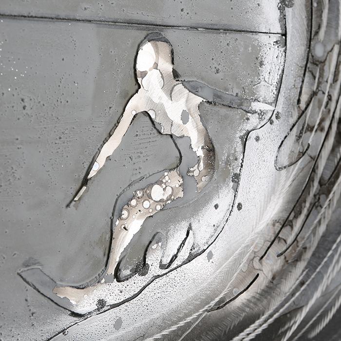 Tablou SURFER, panza/aluminiu, 100x100 cm [1]