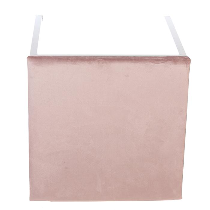 Taburet COSY, metal/textil, alb/roz 52x43x43 cm 2
