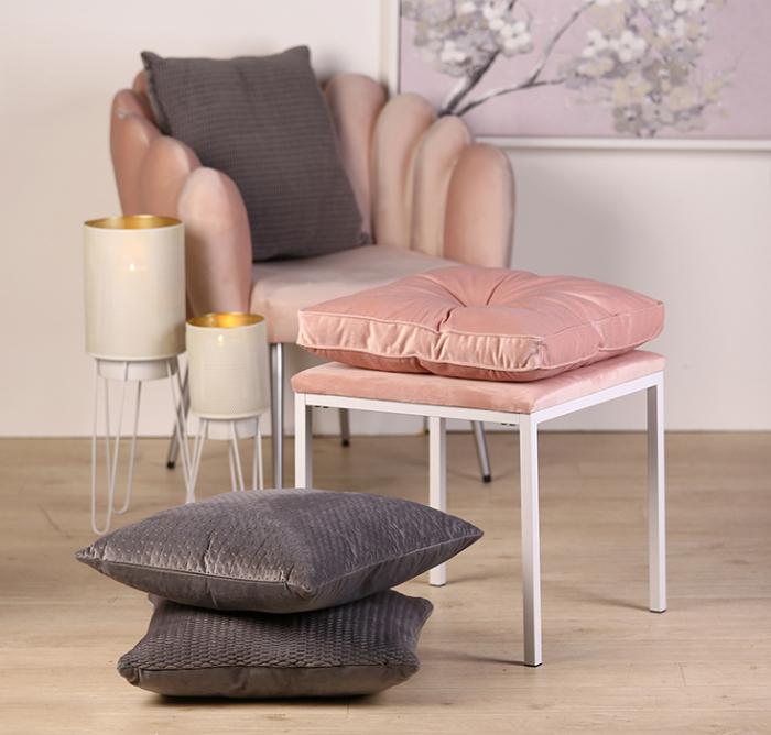 Taburet COSY, metal/textil, alb/roz 52x43x43 cm 3