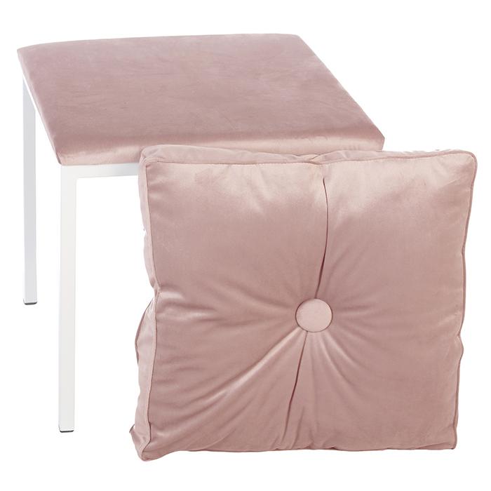 Taburet COSY, metal/textil, alb/roz 52x43x43 cm 1