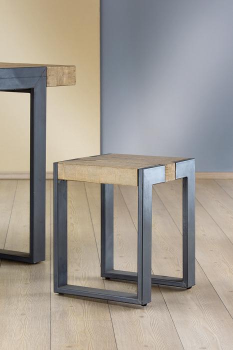 Taburet TURIN, metal/lemn, 36x36x45 cm 0