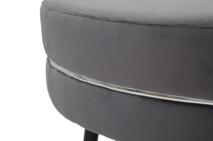 Taburet Paris XXL, lemn de pin/metal/plastic/burete/poliester, gri/negru, 90X46 cm 4
