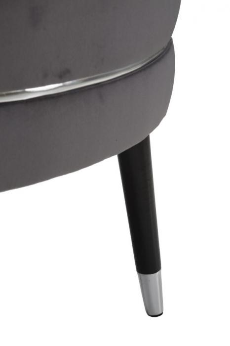 Taburet Paris XXL, lemn de pin/metal/plastic/burete/poliester, gri/negru, 90X46 cm 5