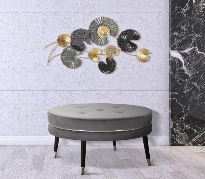 Taburet Paris XXL, lemn de pin/metal/plastic/burete/poliester, gri/negru, 90X46 cm 0