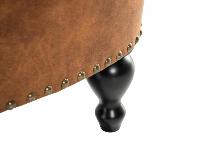 Taburet pentru picioare Clara, Maro coniac, 60x40x50 cm 5