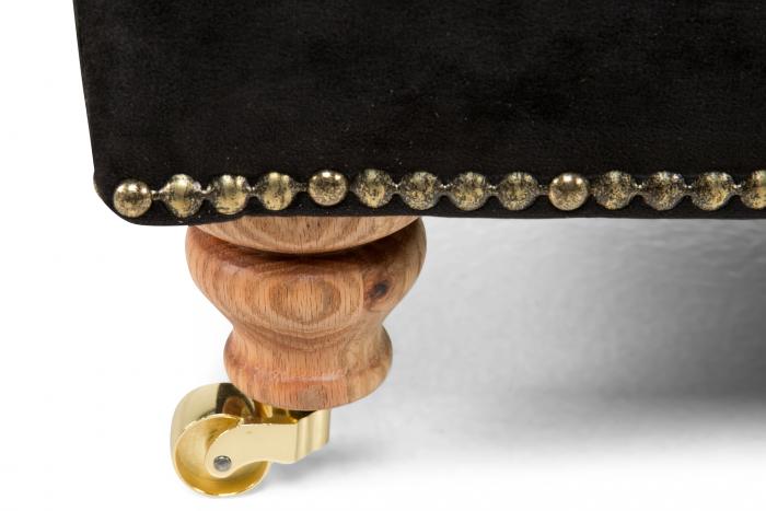 Taburet pentru picioare Veneta, Negru, 55x40x45 cm 2
