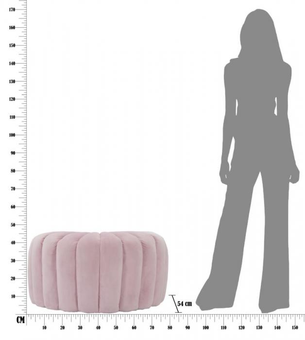 Taburet Shell, lemn de pin/metal/plastic/poliester, roz,  80X54X42 cm 3