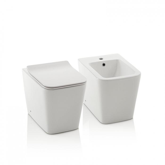 Toaleta montata pe podea SQUARE, Ceramica, Alb,  56x36x40 cm 3