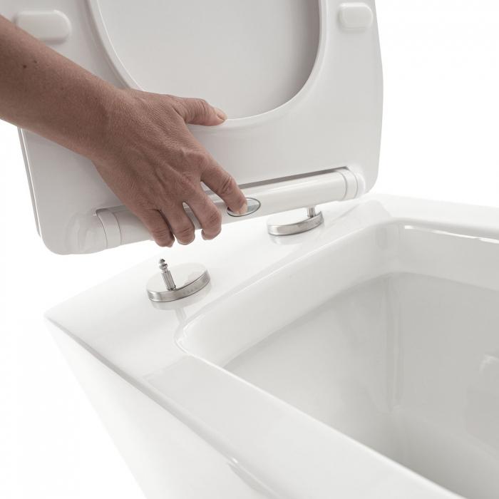 Toaleta montata pe podea SQUARE, Ceramica, Alb,  56x36x40 cm 4