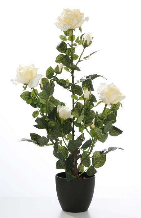 Trandafir la ghiveci CARINA, artificial, alb, 72 cm 0