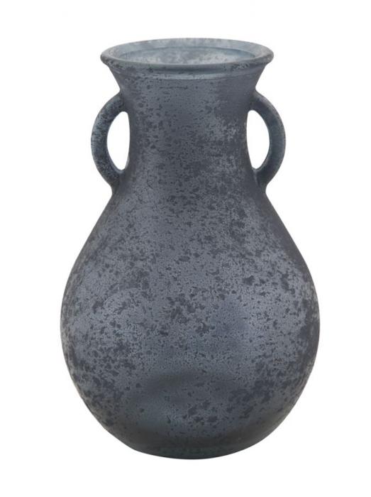 Vaza AMPHORA, sticla reciclata, albastra, (cm) O 15X24 2021 lotusland.ro