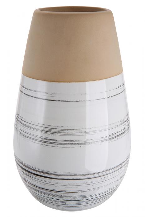 Vaza Bologna, ceramica, bej alb, 22x14 cm lotusland.ro