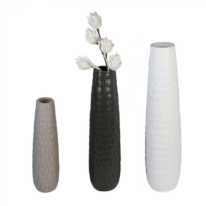 Vaza Brick, ceramica, gri, 57x16 cm lotusland.ro