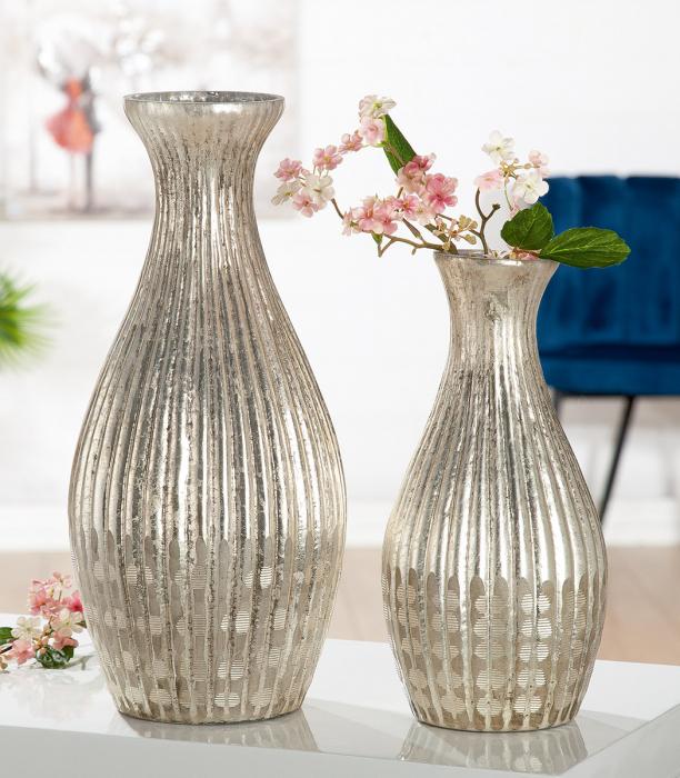 Vaza Bronzeo, sticla, auriu, 19x41x19 cm imagine 2021 lotusland.ro