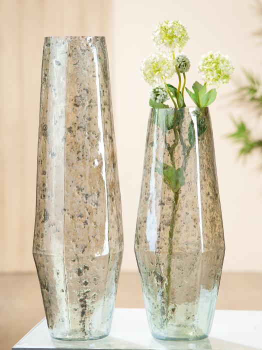 Vaza Caspa, sticla, verde, 47x12 cm 2021 lotusland.ro