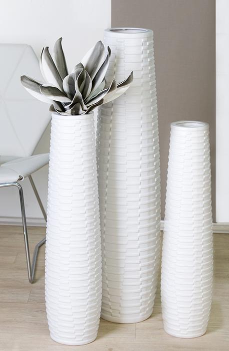 Vaza Catania, ceramica, alb, 100x25 cm 2021 lotusland.ro
