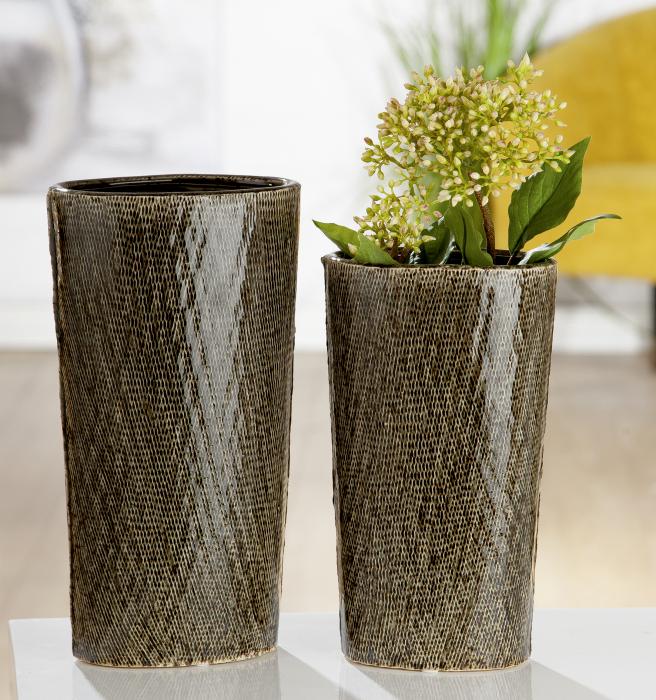 Vaza Cestino, ceramica, verde, 16x10,5x29,5 cm imagine 2021 lotusland.ro
