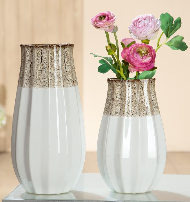 Vaza Chita, ceramica, maro alb, 17x32x17 cm lotusland.ro
