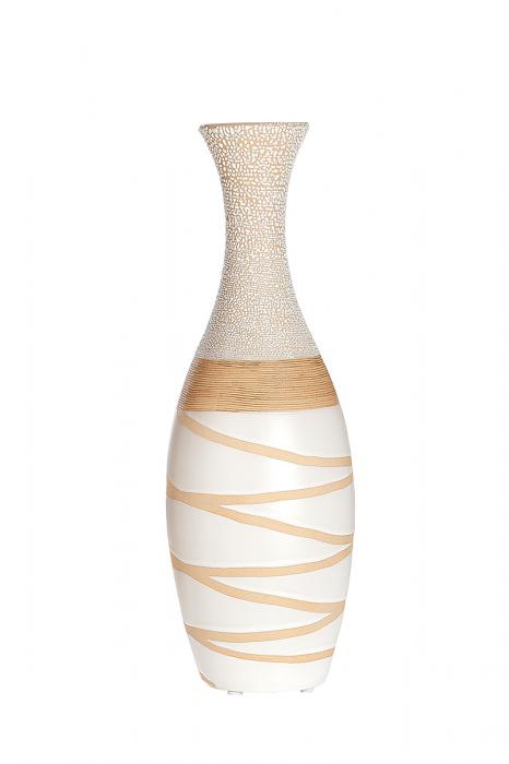 Vaza Claire, ceramica, crem alb, 13,5x13,5x40 cm 2021 lotusland.ro