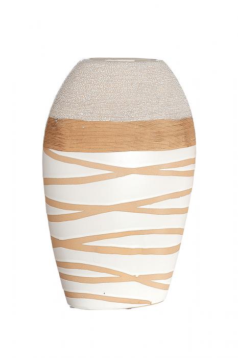 Vaza Claire, ceramica, crem alb, 20x7x30,5 cm lotusland.ro