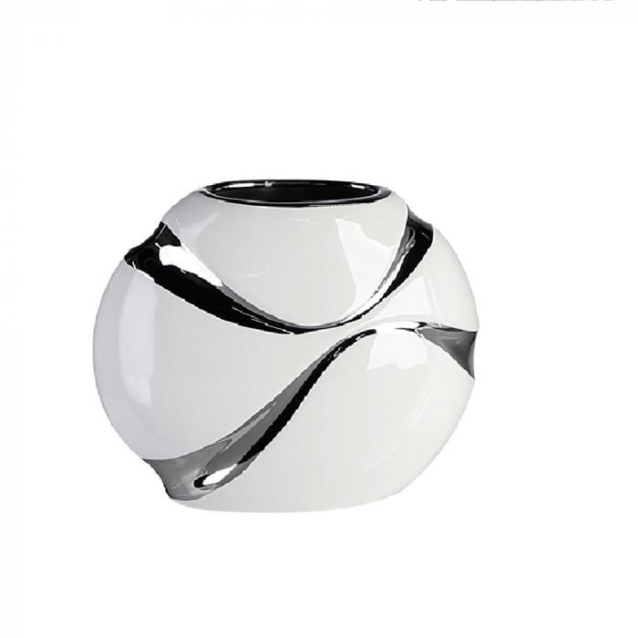 Vaza Classic ceramica, alb argintiu, 15x17x9 cm imagine 2021 lotusland.ro