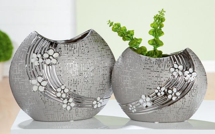 Vaza Daisy, ceramica, argintiu, 21.5x17x10.5 cm 2021 lotusland.ro