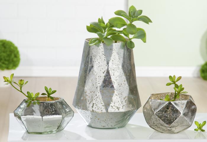Vaza Diamond, sticla, argintiu, 17x10 cm lotusland.ro