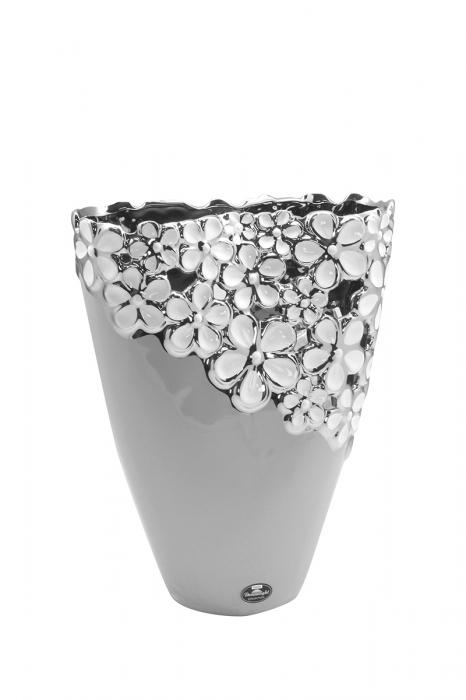 Vaza Diana Grey, ceramica, gri, 2,5x9x28 cm 2021 lotusland.ro