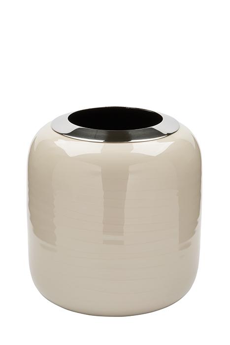 Vaza DIPA, otel inoxidabil/email, crem, 19x18 cm 0