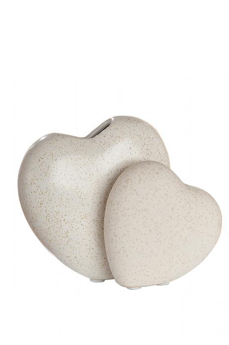 Vaza Double-Heart Cadiz, ceramica, crem, 13,5x7x12 cm lotusland.ro