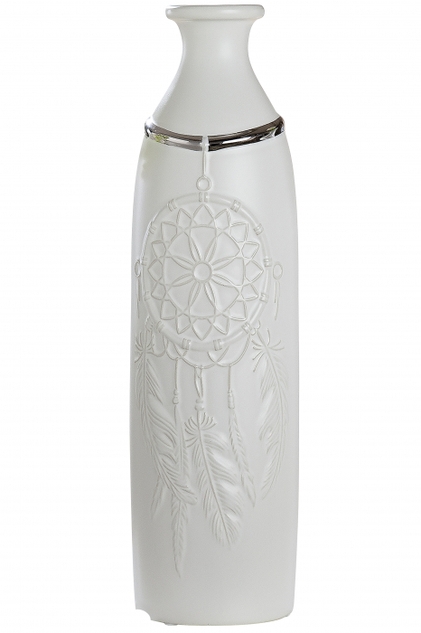 Vaza Dreamcatcher, ceramica, alb, 10x35.5 cm lotusland.ro